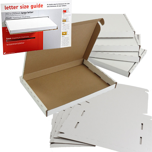 White PIP Large Letter Boxes 222x160x20mm